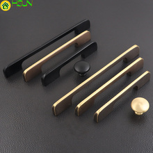 1 PC 100% brass simple handles hole distance 96/128/160mm Kitchen Cabinet Drawer Furniture With Screw Hardwar