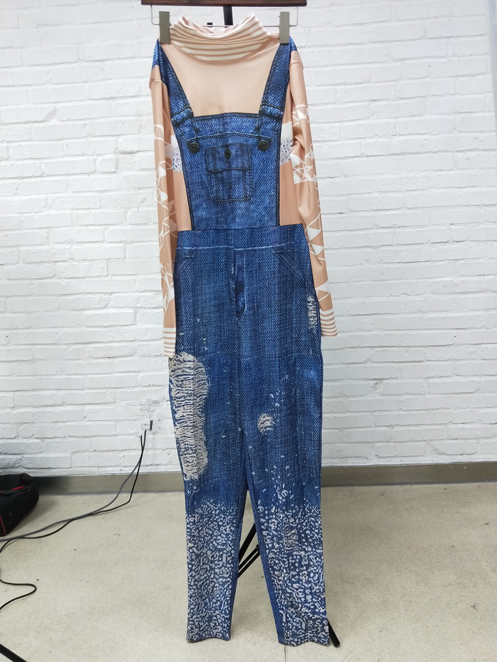 Elegant Long Sleeve Faux Denim Jumpsuit Overalls Women Turtleneck Skinny Print Jumpsuit Long Pants Casual Rompers in Jumpsuits from Women 39 s Clothing