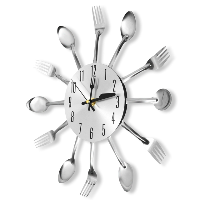 2019 Home Decorations Noiseless Stainless Steel Cutlery Clocks Knife and Fork Spoon Wall Clock Kitchen Restaurant Home Decor
