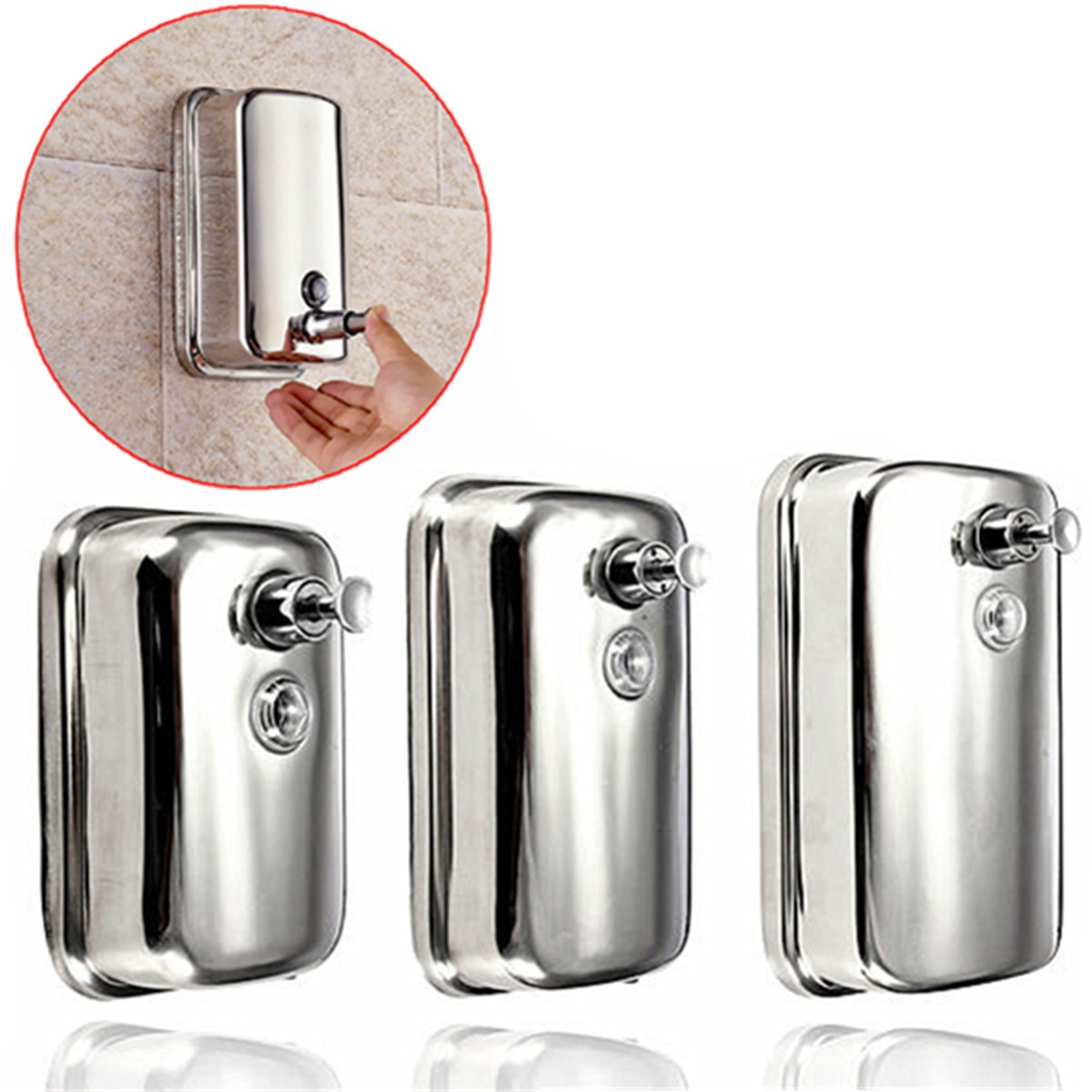 500ml 800ml 1000ml Stainless Steel Soap/Shampoo Dispenser Pump Action Wall Mounted Shower Bath No Leakage Durable Cost Savings500ml 800ml 1000ml Stainless Steel Soap/Shampoo Dispenser Pump Action Wall Mounted Shower Bath No Leakage Durable Cost Savings