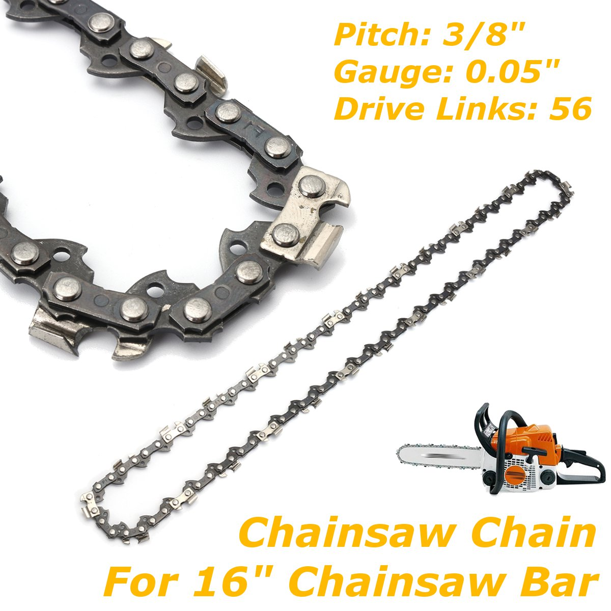 <font><b>Chainsaw</b></font> Chain For <font><b>16</b></font> <font><b>Inch</b></font> Chain Saw <font><b>Bar</b></font> Pitch 3/8 <font><b>Inch</b></font> Gauge 0.05 <font><b>Inch</b></font> 56 Drive Rod For Electric Saw image