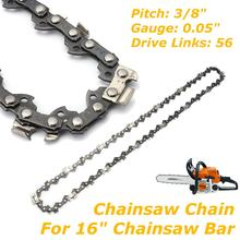 Chainsaw Chain For 16 Inch Chain Saw Bar Pitch 3/8 Inch Gauge 0.05 Inch 56 Drive Rod For Electric Saw(China)