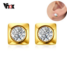 Vnox Shiny CZ Stone Stud Earrings for Women Wedding Gold-color Stainless Steel Geometric Earrings Party Gift Jewelry(China)