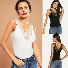 Women Sexy Slim Lace Patchwork Vest Sleeveless V-Neck Tank Tops Summer Fashion Lady Pullover Tanks Women Clothing(China)