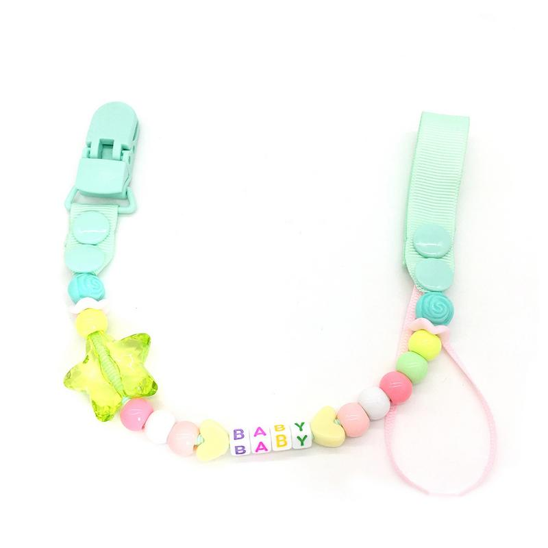 Baby Pacifier Chain Gutta Percha Chain Anti Defense Acrylic Beading For Nipple Baby Pacifier Holder 1 PC Green Plastic Clip Butt in Pacifiers Leashes Cases from Mother Kids