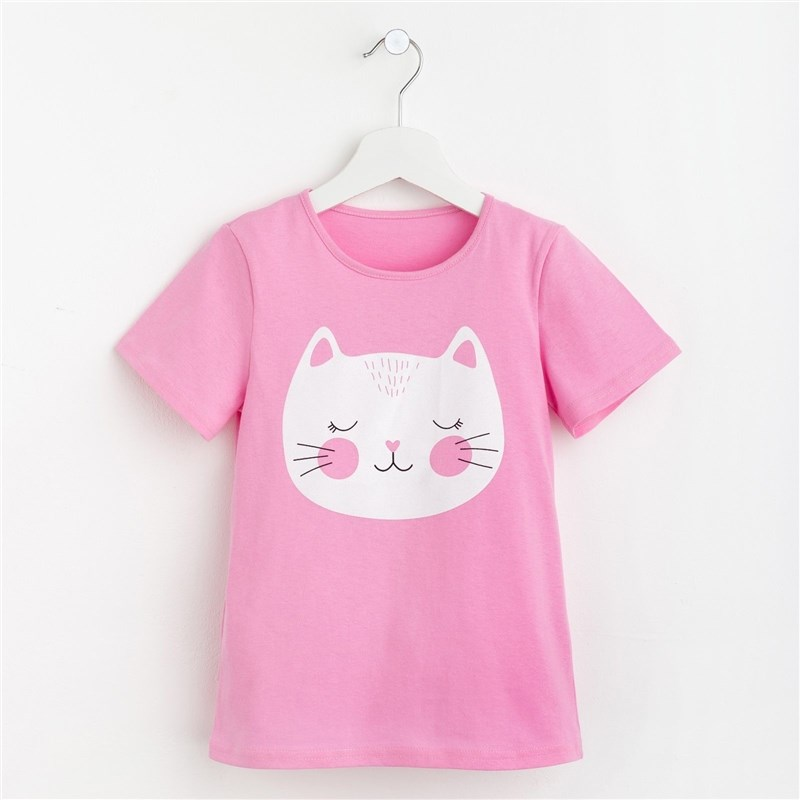 Фото - T-shirt for girls Kitty P. 32 (110-116 cm), pink pink lace details cold shoulder long sleeves t shirt