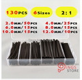 (130 PCS) 2MM/4MM/6MM/8MM/10MM/12MM Black Assortment Ratio 2:1 Polyolefin Heat Shrink Tube Tubing Sleeving Wrap Wire Cable Kit