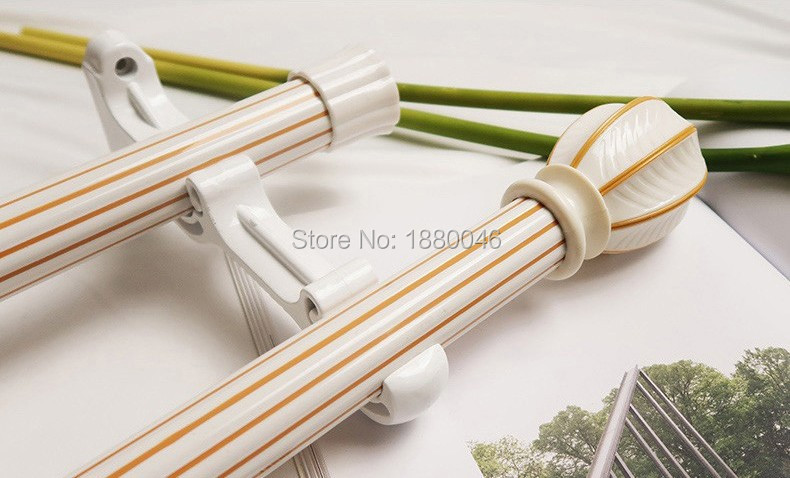 Home Decor Curtain Decorative Accessories Pastoral Style Mute Thickening Curtain Rod Curtain Track Curtain Pole Single Pole Double Pole Single Layer Double Track Bracket