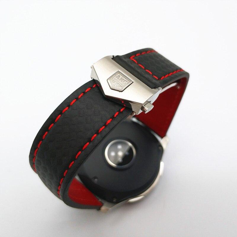 Date Carbone fibre Véritable bracelet de montre En Cuir Bande Pour Samsung Galaxy Montre 46mm 42mm Vitesse S3 Classique Frontière montre huawei 2 - 3