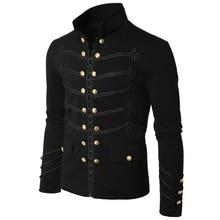 купить 2019 Vintage Mens Gothic Steampunk Military Parade Jacket Slim Fit Tunic Rock Black Army Coat Long Sleeve Men Plus Size Jackets дешево