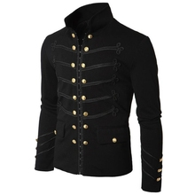 2019 Vintage Mens Gothic Steampunk Military Parade Jacket Slim Fit Tunic Rock Bl