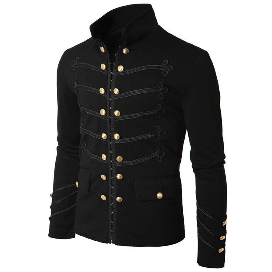 Vintage Mens Gothic Steampunk Military Parade Jacket Slim Fit Tunic Rock Black Army Coat Long Sleeve Men Plus Size Jackets