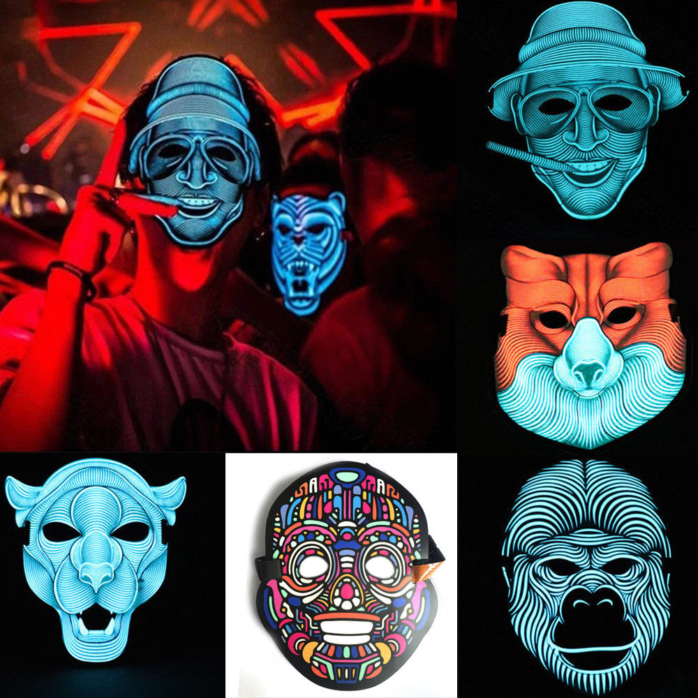 Thefound 2019 New LED Sound Reactive Mask Sound Activated Street Dance Rave EDM Plur Party Mask