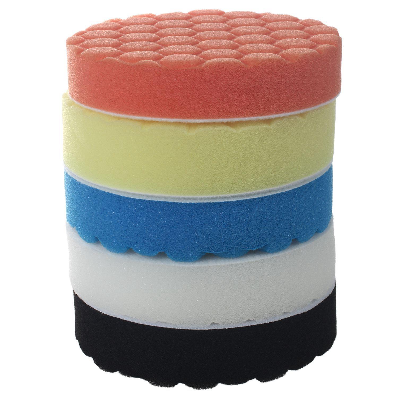 5Pcs 5inch (125mm) Polishing Pad Kit For Car Polisher Sponge White Blue Yellow Black Orange