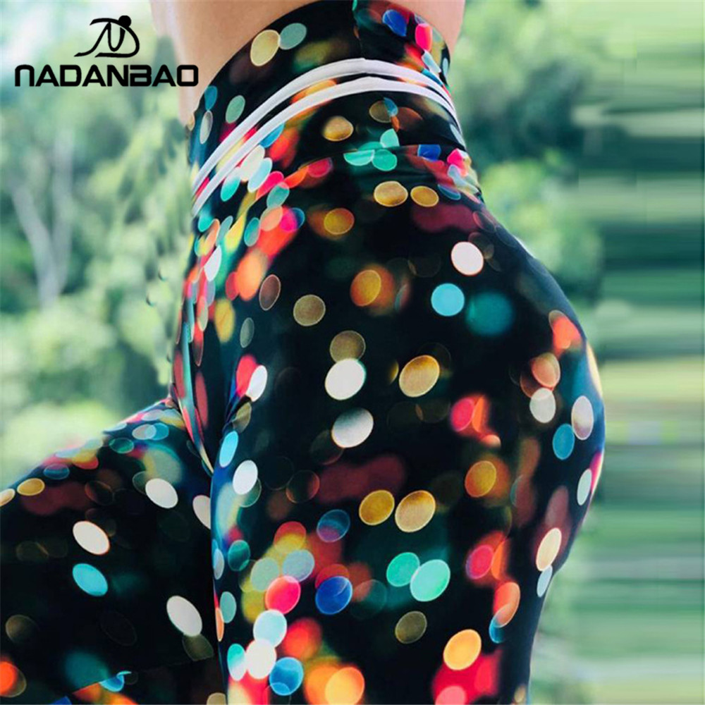 NADANBAO New Spring Women Leggings Colorful Point Print Legging Sporting Fitness leggins Workout High Waist Leggin Pants