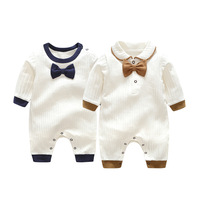 Cotton baptism Clothing Boy Rompers Bow Tie Gentleman Spring Jumpsuits Birthday Toddler Prince New Baby Boys Clothes