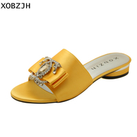 Summer Women Shoes Flat Sandals Luxury Ladies Rhinestone Shoes Woman 2019 Red Leather Designer Silk Sandals Slippers Size 11
