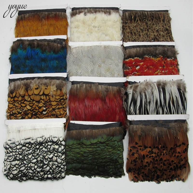 YOYUE Natural Pheasant Feathers Trims Fringe Ribbon Trim With Satin Ribbon Sewing Crafts Costumes Decorative Plumes