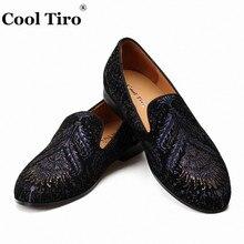 حذاء بدون كعب من جلد الغزال الأسود ماركة كول تيرو حذاء رجالي غير رسمي بدون كعب حذاء رجالي مسطح بطباعة من الجلد الطبيعي حذاء للتدخين
