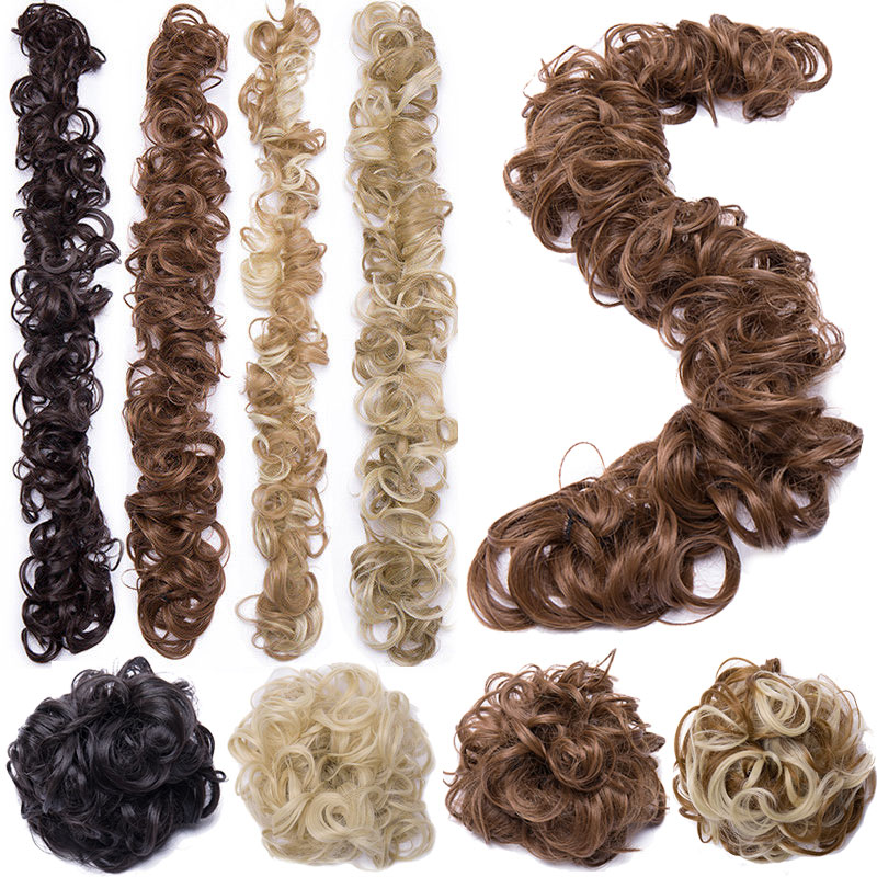 S-noilite 80cm Elastic Band Hair Chignon Updo Twining Hair Extension Synthetic Chignon Hair Pieces Women Chignon Hairpieces