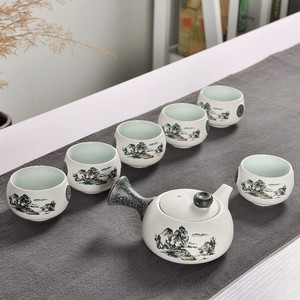 Image 4 - 7Pcs Cute Embroidered Bird Tea Set Creative Kung Ku Teapot Cup Set Japanese Style Thick Pottery Teaware As Gifts