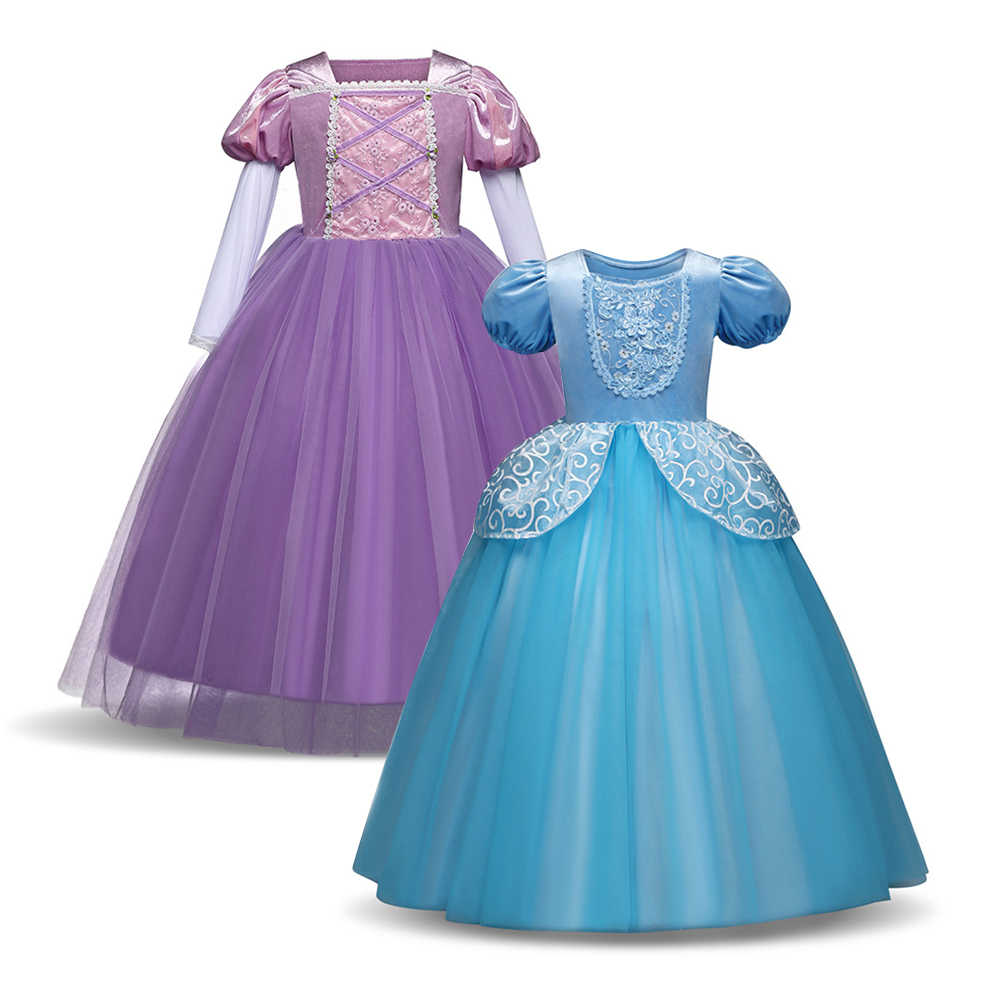 Kids Toddler Girls Princess Cinderella Tangled Rapunzel Fancy Party Dress New