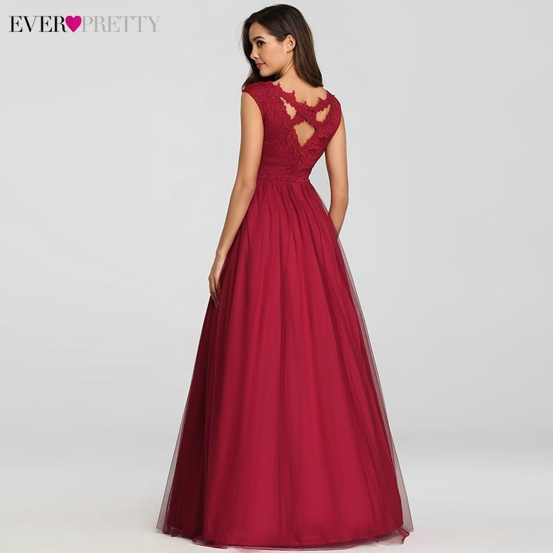 Elegant Prom Dresses Long Burgundy A Line V Neck Sleeveless Empire Lace Sexy Vintage Evening Gowns