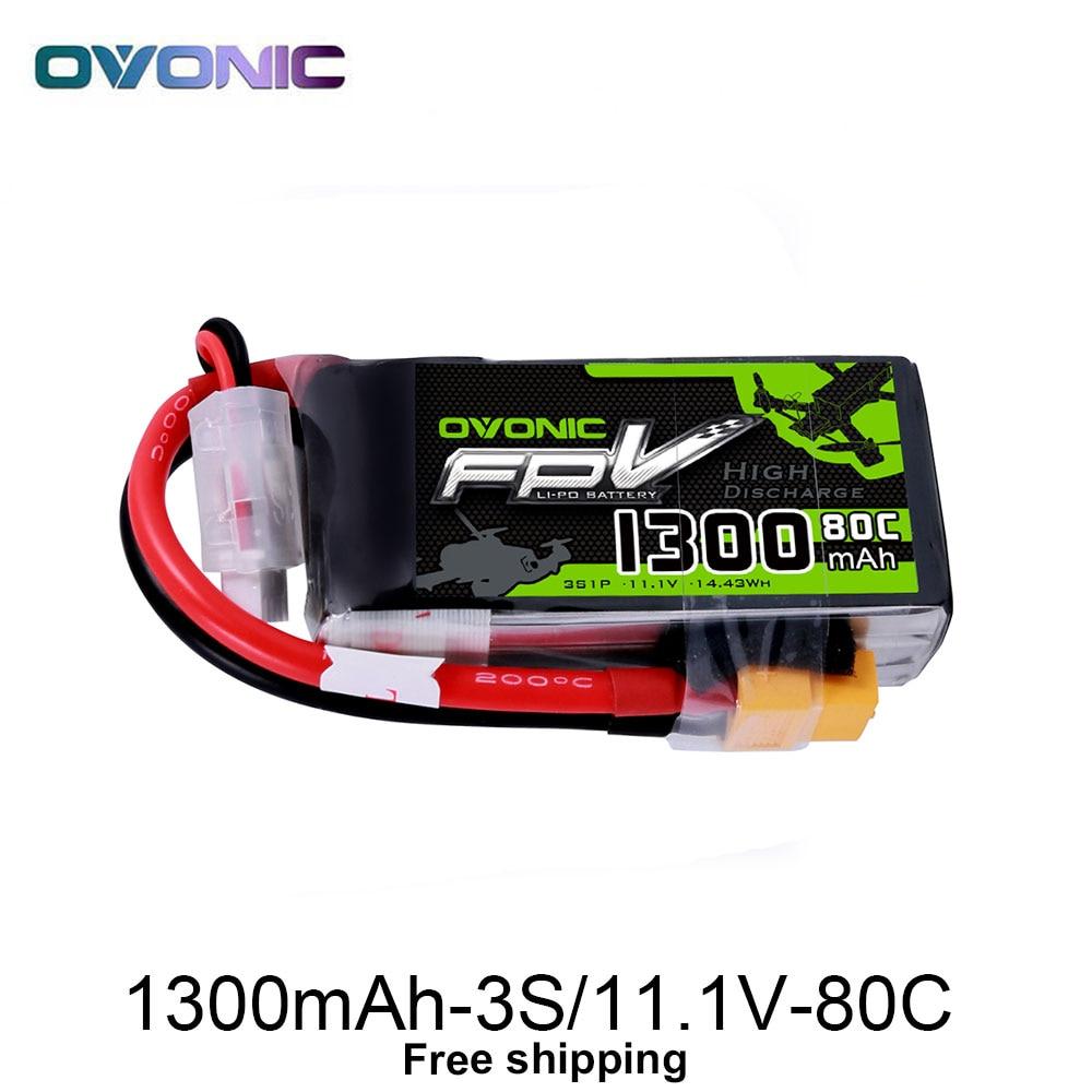 OVONIQUE 1300 mah 80C Max 160C Lipo 3 s 11.1 v Batterie avec XT60 Plug pour 240 FPV Cadre RC drone Hélicoptère Quad Bateau De Voiture RC Outil