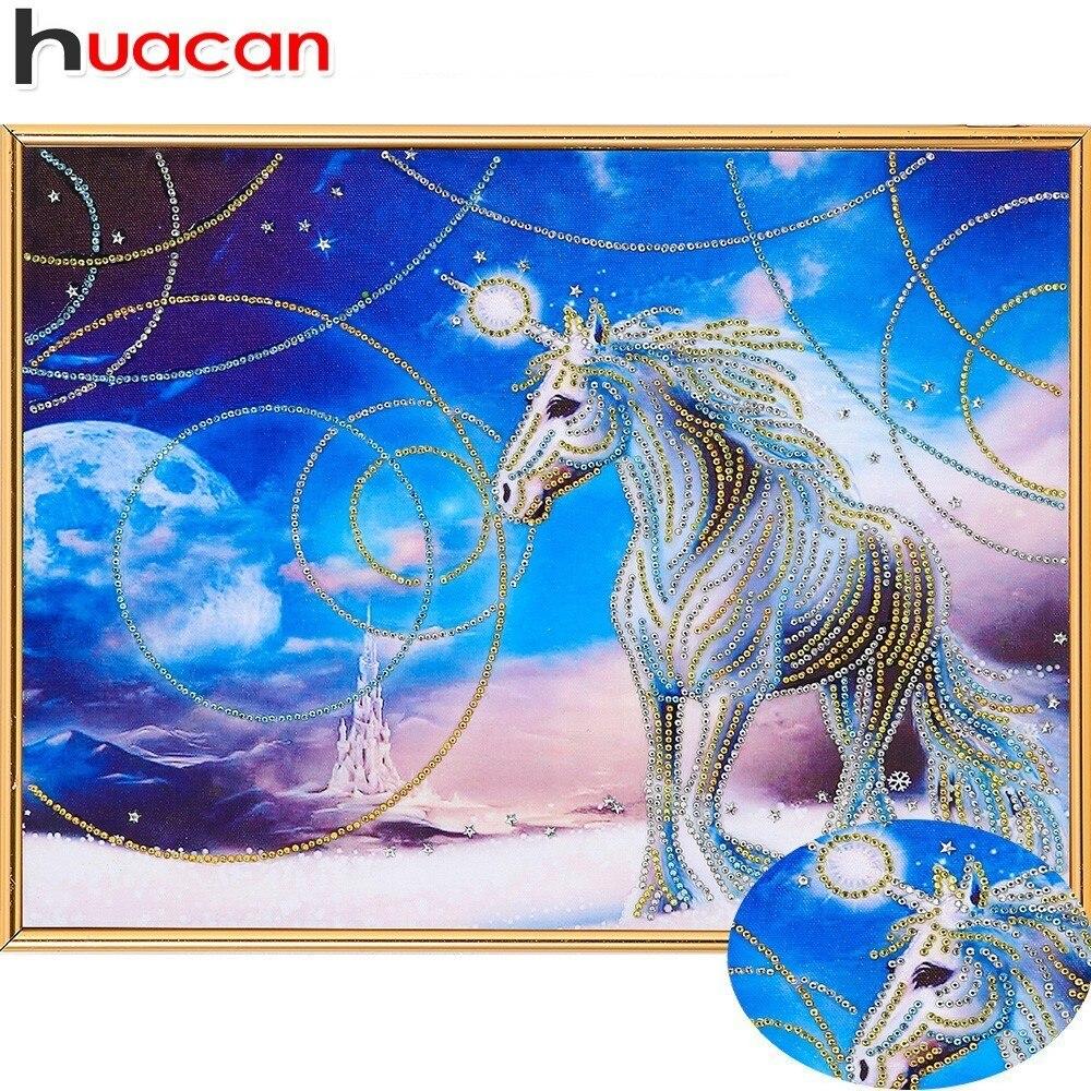 Huacan Speciale A Forma di Diamante della Pittura A cavallo FAI DA TE Diamante Ricamo Animali Immagine Di Strass 5D Mosaico Del Fumetto 40x50 cm