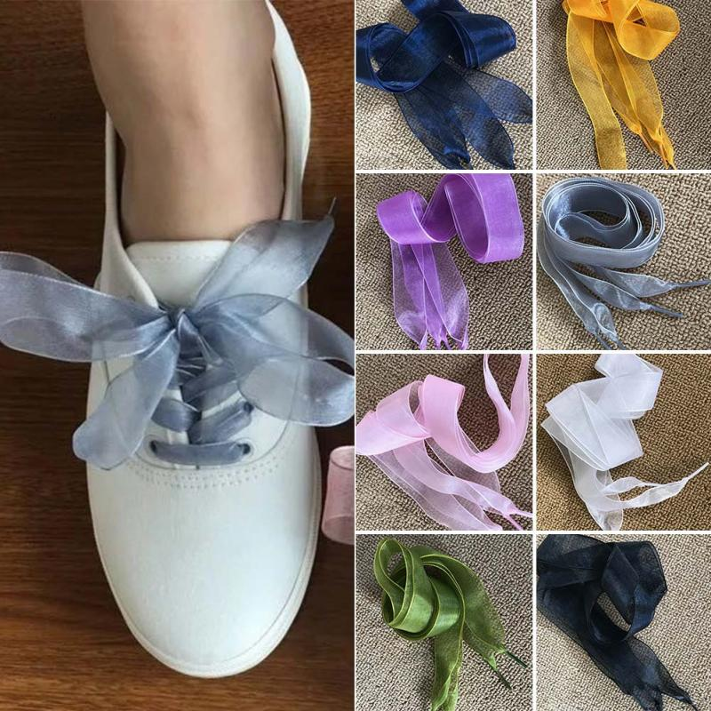 1 Pair 110cm Shoelaces Fashion Flat Lace Satin Ribbon High Density Snow Yarn Shoelaces Sport Shoes Sneakers Laces Shoe Strings