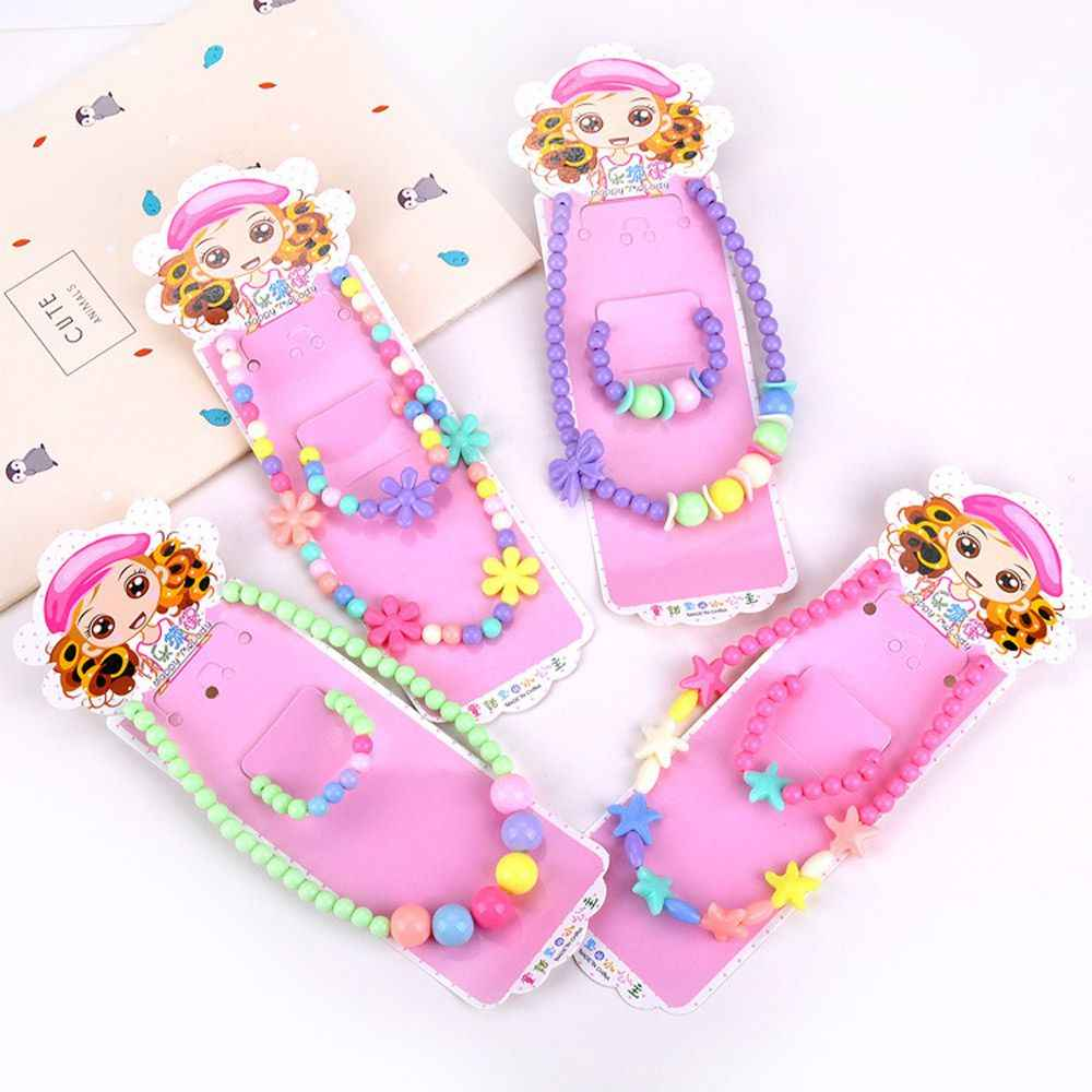 Kids Girls Cute Candy Color Necklace Bracelet Jewelry Set Beads Petals Acrylic Children Christmas Gift Party Cosplay Accessories