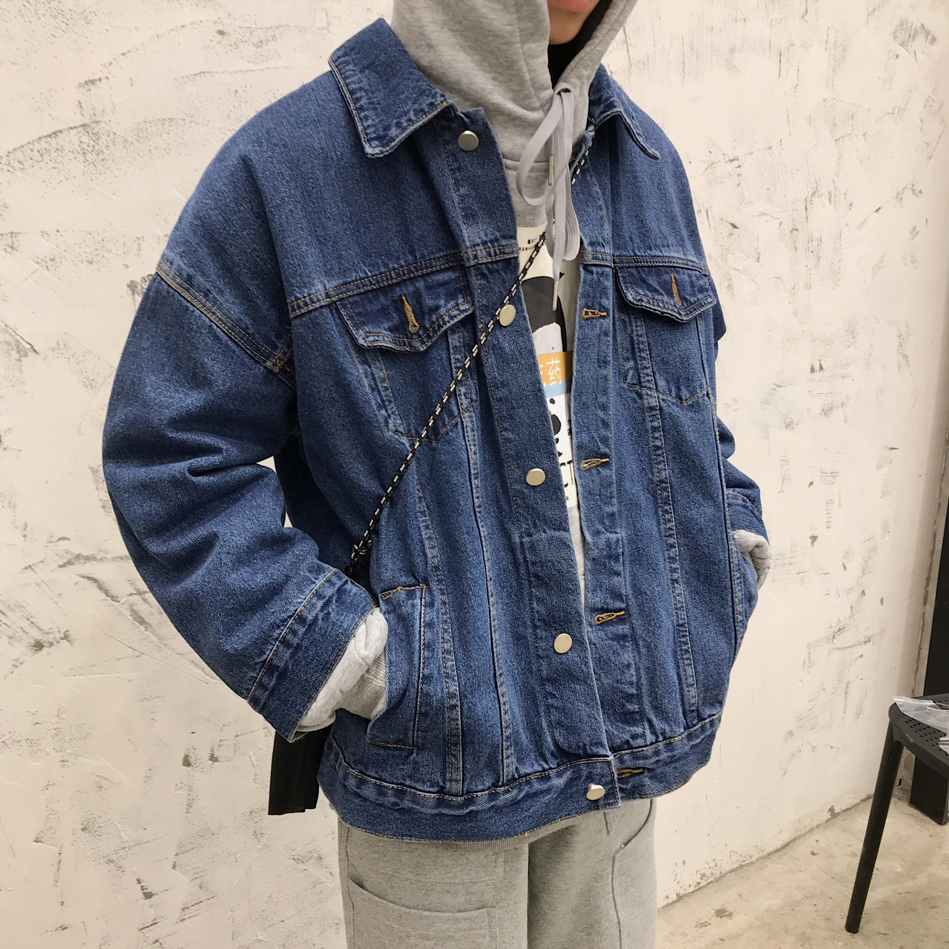 2019 Spring Personality Button Back Men Casual Cotton Youth Denim Jacket Streetwear Japanese Trend Loose Blue Cowboy Coat M 2XL in Jackets from Men 39 s Clothing