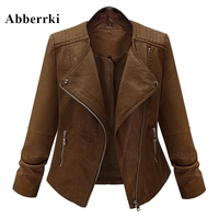 New Autumn Winter Long Sleeved Zipper Jacket Coat Motorcycle PU Leather Large Size 5XL Slim Bomber Jackets Outerwear For Women