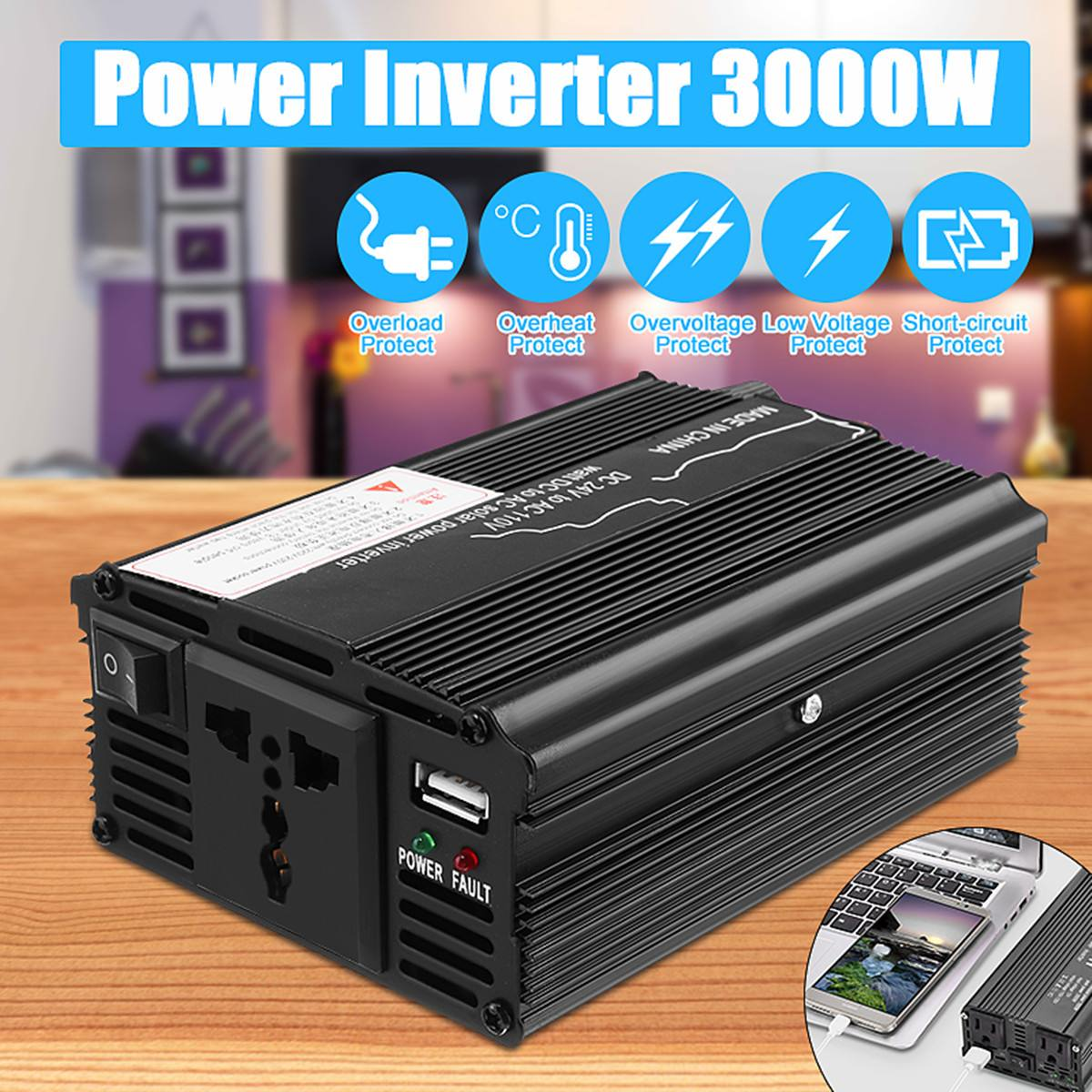 Solar Inverter 12V 220V 3000W Peaks Power Voltage Transformer Converter DC 12V/24 To AC 110v/220V For Car Truck