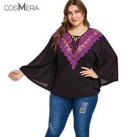 COSMERA Spring Blouses Loose Hollow Blouse Plus Size Lace Up Lace Insert Bat Sleeve Shirt Women Beach Kimono Retro Blusas Tops