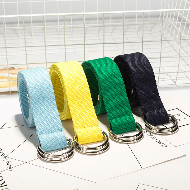 110cm Long D Ring Buckle Belt Harajuku Zipper All-match Ultra Long Canvas Belt Lovers Brief Solid Color Long Belt