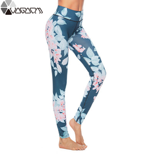 Women Flower Print High Waist Shaping Leggings Casual Sexy Hips Floral Print Push Up Leggins Workout Fitness Clothing Leggings
