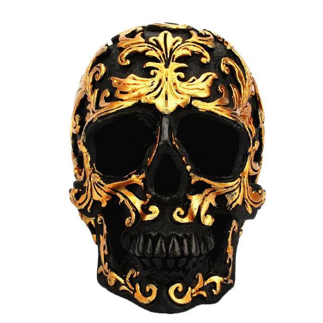 Squelette à motifs dorés en résine   Mini, décoration pour tête squelette réaliste, modèle squelette naturel pour accessoires de Halloween, décorations de maison, Col Vintage