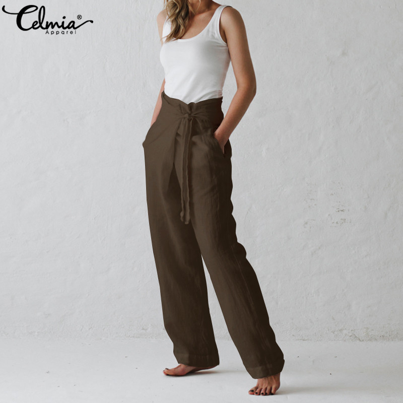 Celmia Women Retro Linen Trousers 2019 Summer   Wide     Leg     Pants   Casual Loose Harem   Pants   Pockets Long Pantalon Plus Size Palazzo