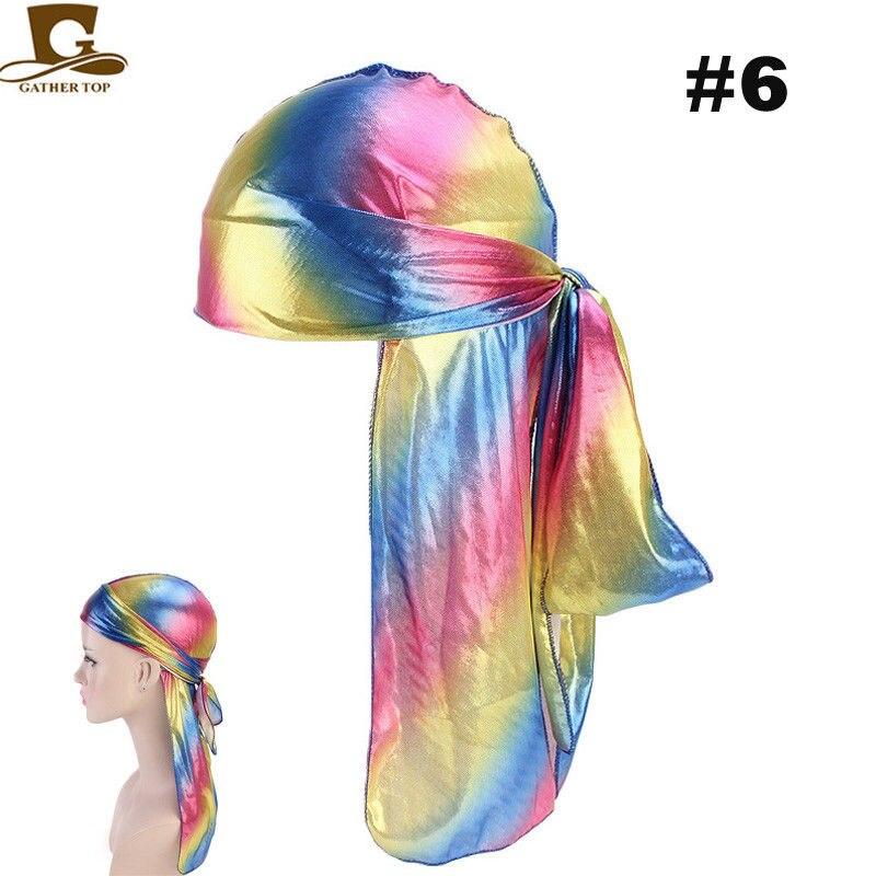 Viewk Womens Silk Polyester Bandana Hat Durag Rag Tail Headwrap Headwear
