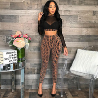 Sexy Club Outfits Women Matching TWO PIECE SET Mesh See Through Transparent High Waist Sheer Pant Lady Crop Top Nightclub Party