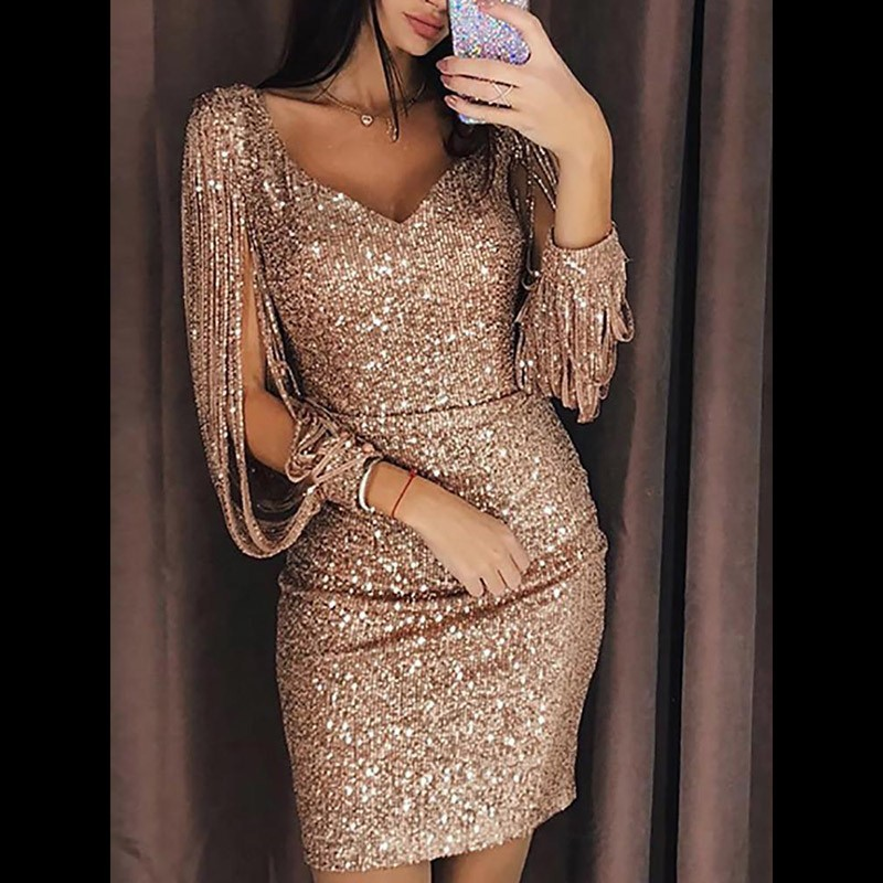 Detail Feedback Questions about Try Everything Women Gold Dress Sequin  Party Dresses Women Evening 2018 Winter Fashion Bodycon Sexy Glitter  Dresses For ... 67df3bfc8eee