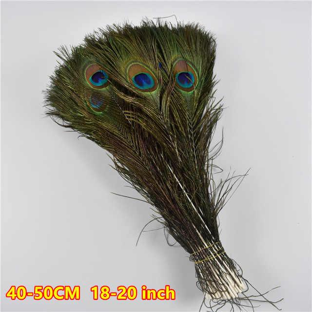 En gros 10 pièces Naturel Paon Yeux plumes de Queue environ 40-45 cm pour la Boucle D'oreille de Mariage De Vase De Fête Artisanat bricolage décoration plumes