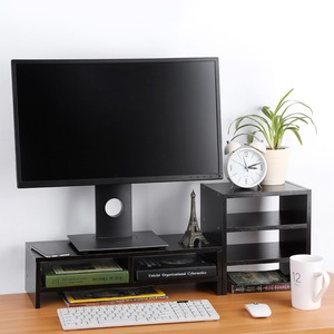 Image 2 - מחשב נייד צג Riser סטנד שולחני עץ אחסון ארגונית + 3 שכבה מדף כלי