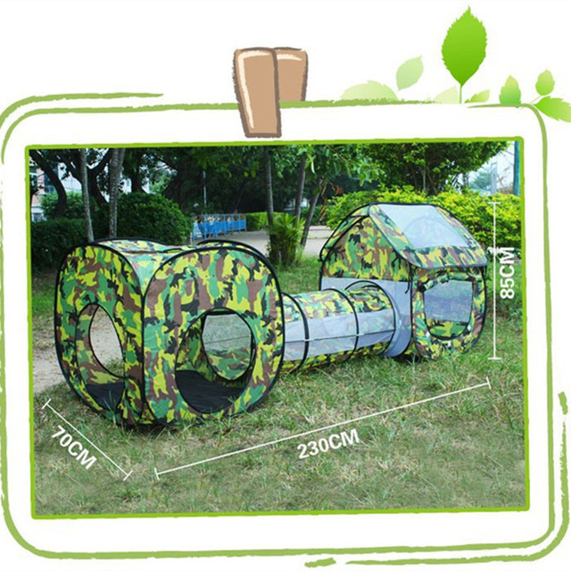 Outdoor Camouflage Shuttle Tunnel Tent for Baby Kids Waterproof Playhouse Tent with 2 Rooms 1 Tunnel Children's Gift Toy
