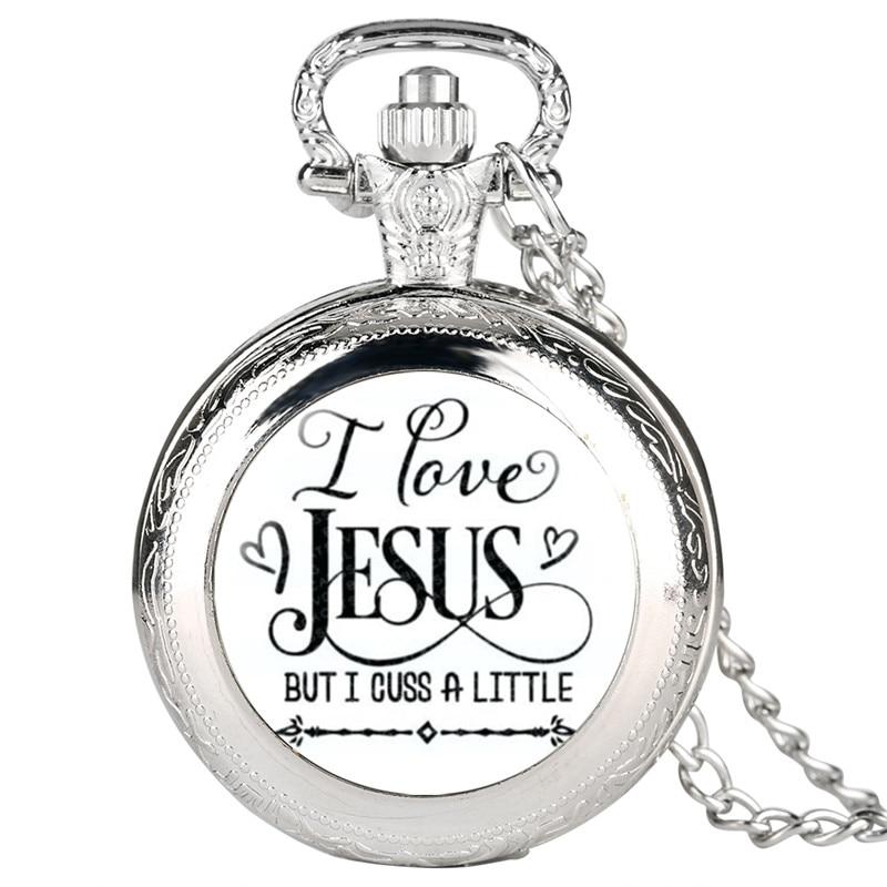 Reloj Mujer I Love Jesus Series Quartz Pocket Watch Retro For Men Women Classic Gift For Pocket Watch Pendant Watch Link Chain