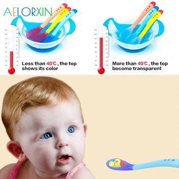 Temperature Sensing Spoon Fork Children's Food Baby Safety Feeding Baby  Children's Spoon Dining Appliance Children Flatware 2017 new safety soft spoon baby flatware feeding spoon transparent newborn soft silicone flatware lovely gifts for kids 3 colors