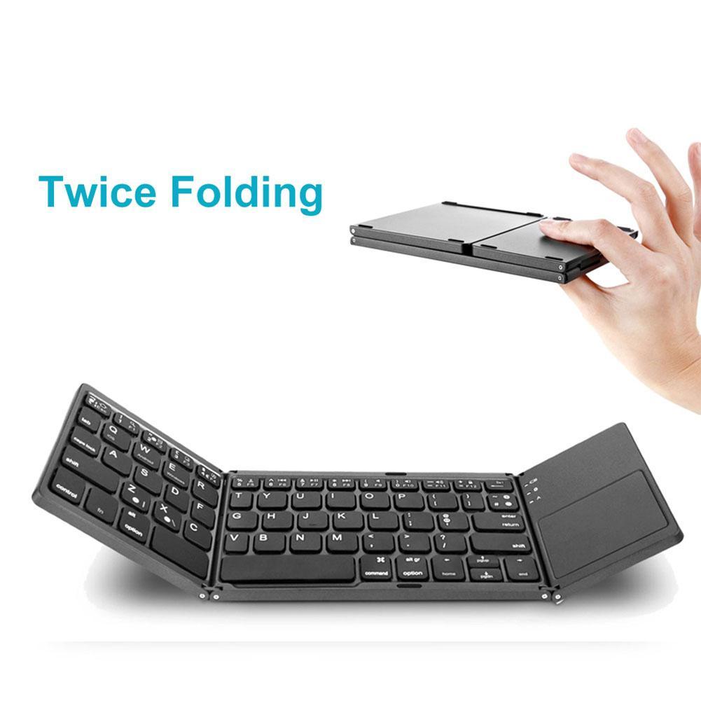 EastVita taşınabilir Mini üç katlanır Bluetooth klavye kablosuz katlanabilir Touchpad tuş takımı için IOS/Android/Windows r20