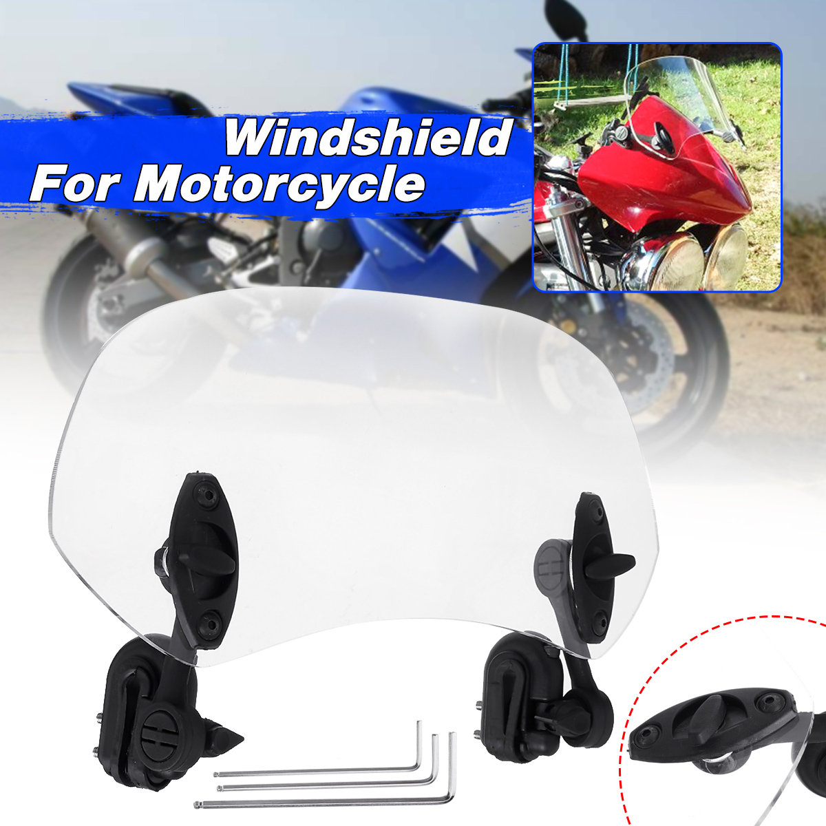Adjustable Clip On High Windscreen Extension Spoiler Wind Deflector Motorcycle