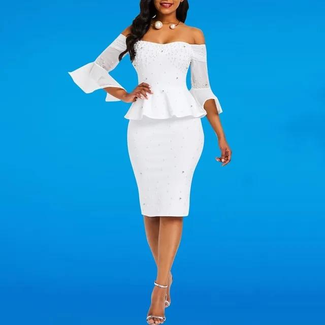 Bodycon Dresses Women Beads Stylish Elegant White Evening Summer Ruffles Mesh Flare Sleeve Elastic Slim Ladies Party Sexy Dress